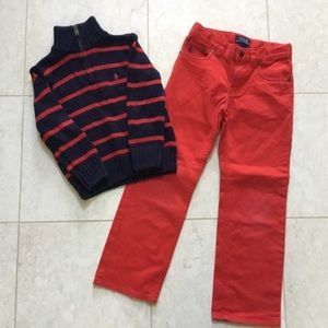 RALPH LAUREN navy red Sweater Pant set outfit 5